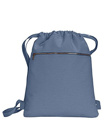 ZUZIFY Pigment Dyed Canvas Cinch Sak Drawstring Backpack. FZ0992 OS Blue Jean