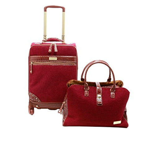 "Samantha Brown Tweed 2-Piece 21"" Spinner And Shoulder Bag Luggage Set - Burgundy"