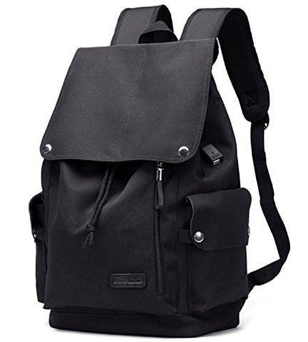 Bison Denim Unisex Canvas Backpack Large School Bag Travel Hiking Daypack Rucksack With Usb Charger