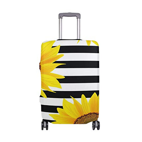 Luggage Cover Sunflowers With Stripes Suitcase Protector Travel Luggage 18-32 Inch