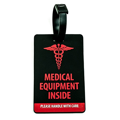 Shacke Medical Equipment Luggage Tag for Respiratory Devices (Black/Vertical)