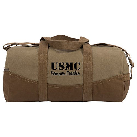 USMC Semper Fidelis Marine Corp Two Tone Brown Canvas 19 inch Duffle Bag