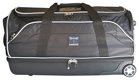 "Travolution 28"" Wheeled Drop-Bottom Duffel With Garment Rack With Grey Trim, Black With Grey Trim"
