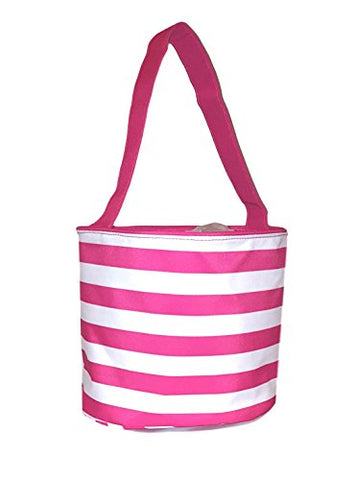 Fabric Bucket Tote Bag For Children - Toys - Easter Basket - Can Be Personalized (Pink & White