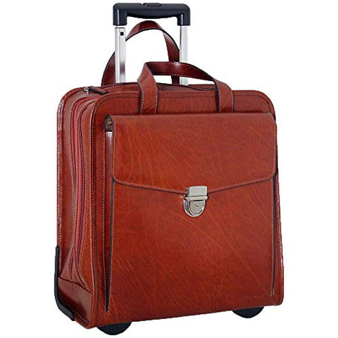 Jack Georges Milano Collection Womens Rolling Laptop Briefcase in Cognac