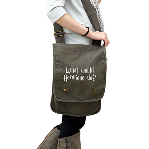What Would Hermione Do? 14 Oz. Authentic Pigment-Dyed Canvas Field Bag Tote