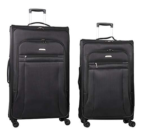 Lightweight Large Luggage Sets 2 piece 29in 32 inch - Reinforced Suitcases Set (Black)