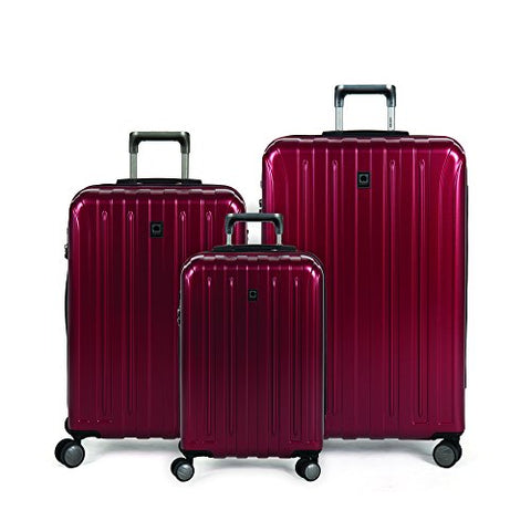 Delsey Paris Luggage 25 inch Expandable Spinner Suitcase Hardsided with Lock, Black Cherry Red