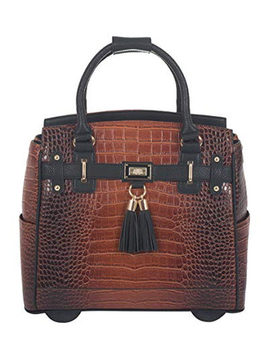"The Boston Alligator Crocodile Alligator Computer iPad, Laptop Tablet Rolling Tote Bag Briefcase Carryall Bag (17"" 17.3"" inch)"