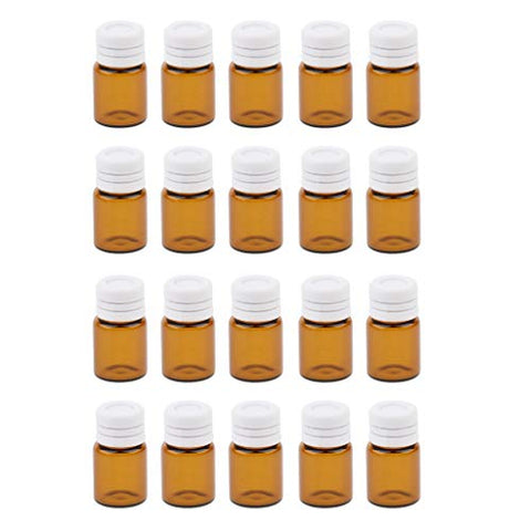 Baoblaze 20 Pcs Mini Empty Amber Glass Essential Oils Sample Bottles Sample Storage Containers