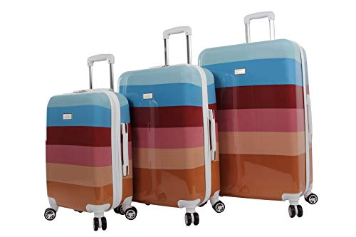 "Nicole Miller Rainbow Hard-Sided 3-Piece Spinner Set: 28"", 24"", and 20"" (One Size, Rainbow Spice)"
