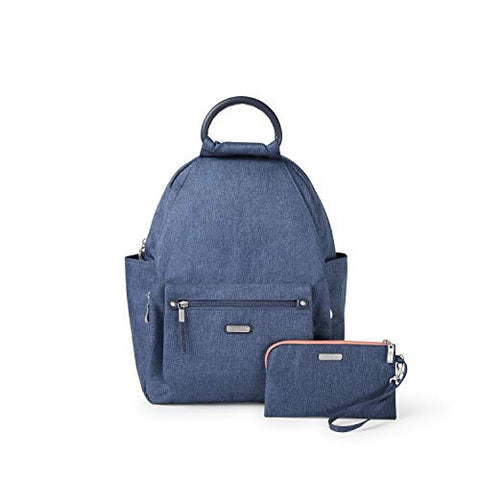 "Baggallini Women's New Classic""Heritage"" All Day Backpack with RFID Phone Wristlet Steel Blue One"