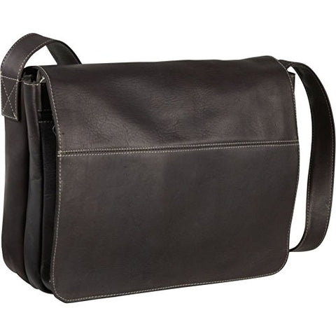 Le Donne Leather Full Flap Leather Laptop Messenger Bag, Café
