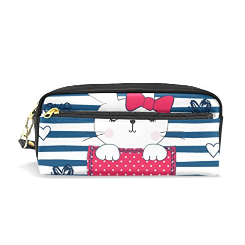 ColourLife Cute Bunny Girl Pocket PU Leather Pencil Case Holder Pouch Makeup Bags for Boys Girls Adults