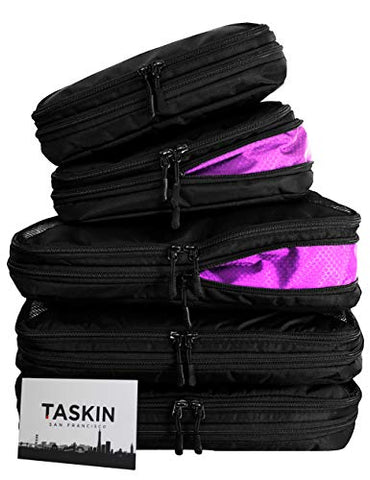 Taskin | Compression Packing Cubes | Premium Set of 5 (3 Large + 2 Medium) | Genuine YKK Zippers