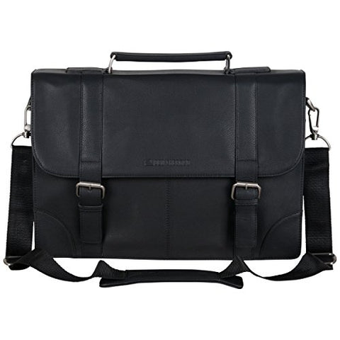 "Ben Sherman Leather Double Compartment 15"" Flapover Laptop Business Portfolio (RFID), Black"