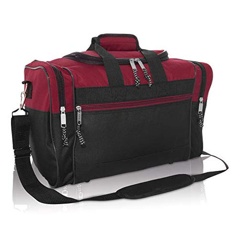 "DALIX 17"" Blank Duffle Bag Duffel Bag Travel Size Sports Durable Gym Bag (Maroon)"