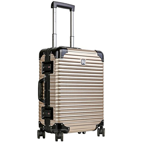Luggage by LANZZO Aluminum Travel Suitcase Magnesium Alloy with Spinner Wheels Hardshell TSA Lock Approved