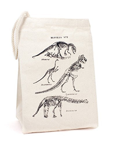 Cognitive Surplus Deluxe Eco-Friendly Recycled Cotton Vintage Dinosaur Bones Lunch/Cosmetics Small Bag