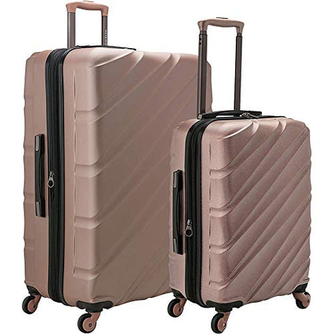 U.S. Traveler Gilmore 2-Piece Expandable Hardside Luggage Set with Push-Button Handle, Rose, Gold