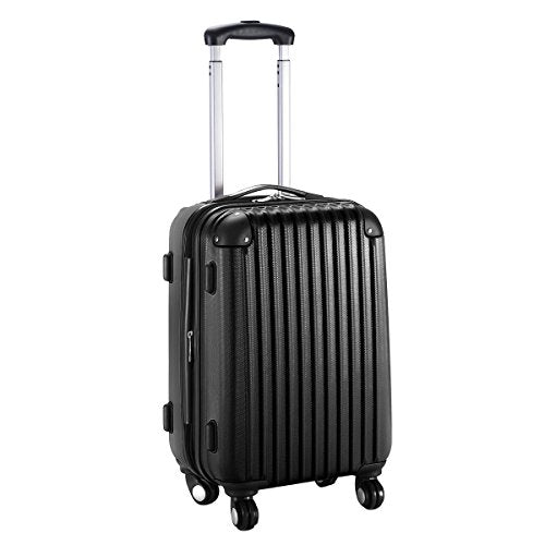 "GHP 15.2""x10.4""x22.4"" Black Scratch-resistant Lightweight & Durable Trolley Suitcase"