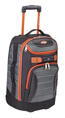 "Harley-Davidson 21"" Quilted Carry-On Luggage Bag w/Wheels 99323 GRAY/RUST"