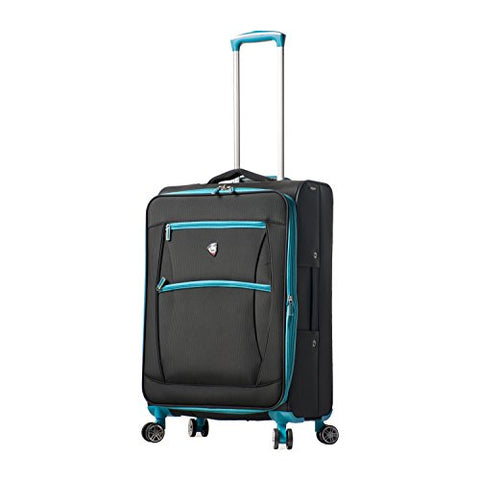 Mia Toro Italy Piuma Softside 24 Inch Spinner Luggage, Blue