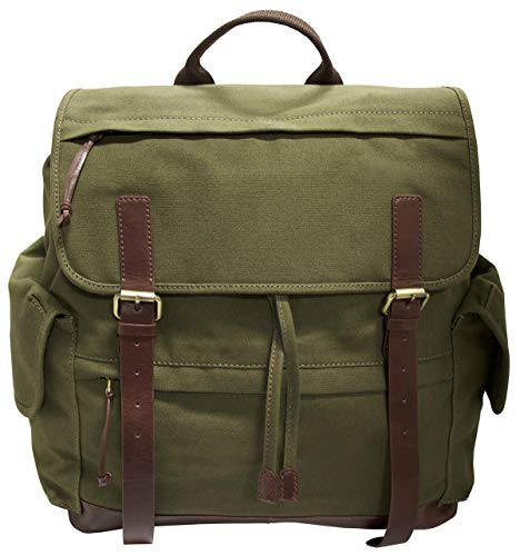 "Mancini Leather Goods Large Backpack for 15.6"" Laptop (Olive - Brown Trim)"