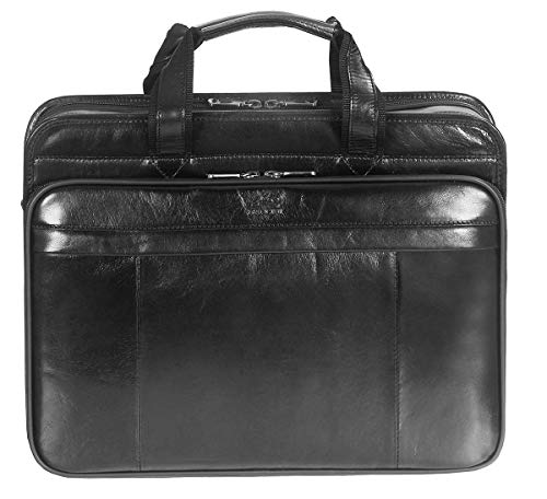 Mancini Black Italian Leather Briefcase Laptop
