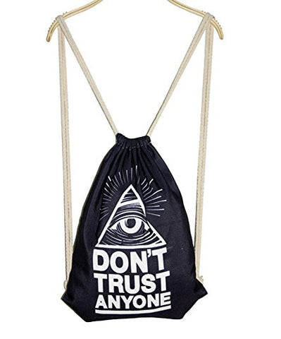 Fashional Item/Canvas Drawstring Backpack [Black Triangle Eye]
