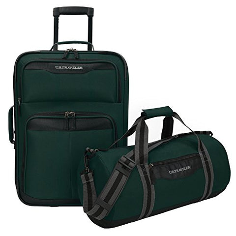 U.S. Traveler Hillstar Carry-On Expandable Rolling Luggage Set, Forest
