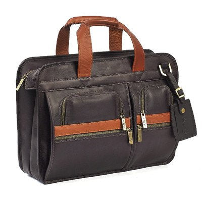 Portfolio Laptop Briefcase Color: Brown/Tan