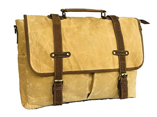 18 Inch Mens Messenger Bag Inch Waterproof Vintage Genuine Leather Waxed Canvas Briefcase Large