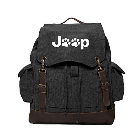 Jeep Wrangler Cat Dog Paw Prints Canvas Rucksack Backpack w/Leather Straps Black