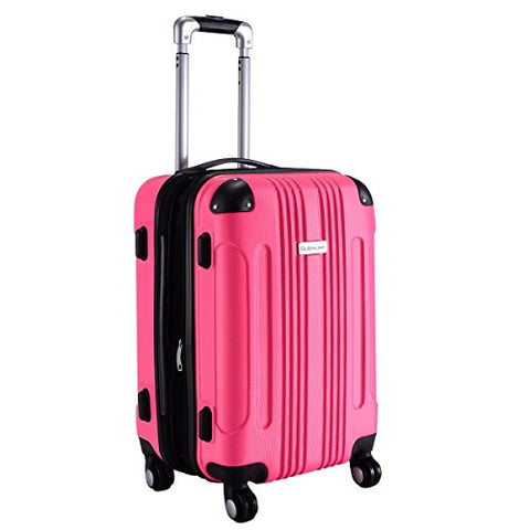 "GHP Pink 14""Wx10""Thickx20""H 4-Wheel Spinner Lightweight Expandable Trolley Suitcase"