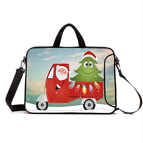 "17"" Neoprene Laptop Bag Sleeve with Handle,Adjustable Shoulder Strap & External Side Pocket,Christmas,Santa in Red Vintage Truck with Fun Cartoon Xmas Tree and Colorful Fairy Lights Print,Multi"