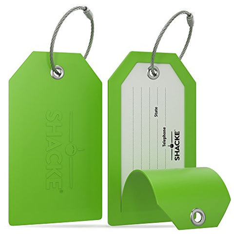 Shacke Luggage Tags With Full Back Privacy Cover W/ Steel Loops - Set Of 2 (Green)
