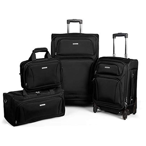 "American Tourister Premium 4 Piece Lightweight Set (20"" & 28"" Spinners + Duffel & Boarding) (Black)"