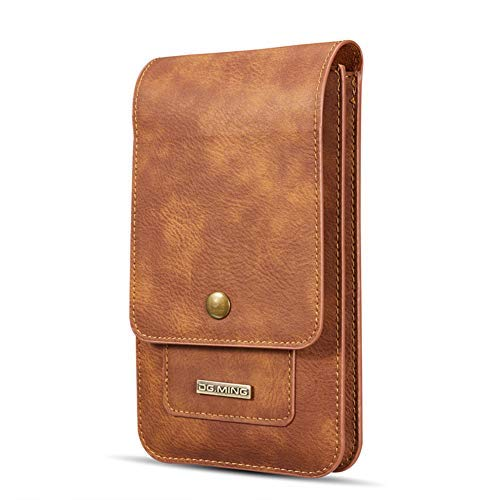 "Men Carrying case Cellphone Holster Leather Belt Clip Pouch Vertical Waist Wallet Purse for iPhone Xs MAX/XR/XS/X,Samsung Galaxy S10/S10 Plus/S10 Lite/Note 9/S9/S9 Plus,Google - 6.5"",Coffee"