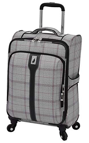 "London Fog Knightsbridge 21"" Carry-on Spinner, Grey Burgundy Glen Plaid"