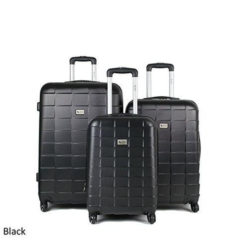 Amka Palette Hardside 3-Piece Expandable Spinner Upright Luggage Set, Black