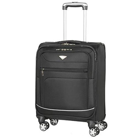 Flight Knight Lightweight 8 Wheel 840D Soft Case Suitcases Maximum Size For Emirates - Cabin Black FFK0034_S