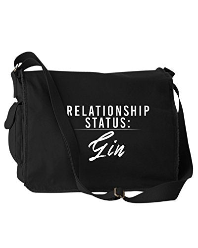 Funny Relationship Status:Gin Alcohol Black Canvas Messenger Bag