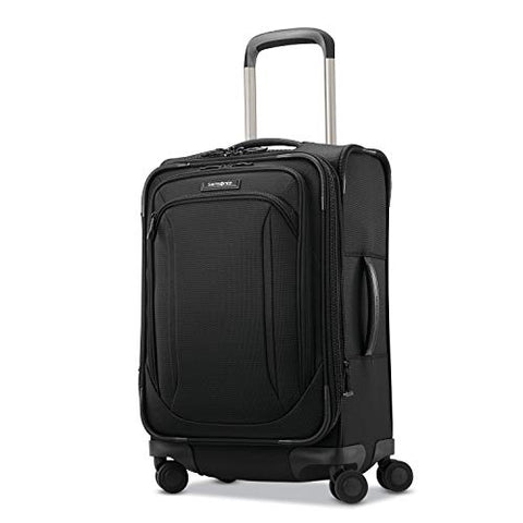Samsonite Lineate Expandable Softside Carry On with Spinner Wheels, 20 Inch, Obsidian Black