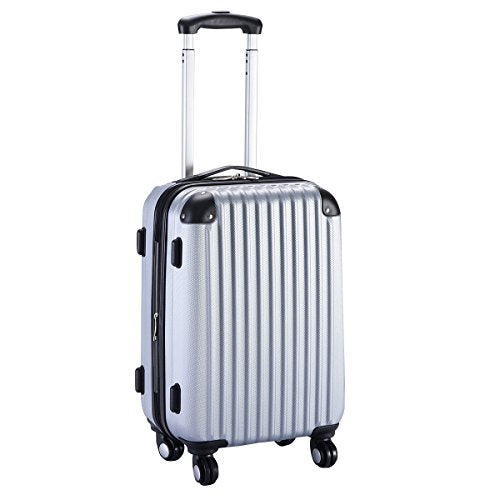 "GHP 15.2""x10.4""x22.4"" Gray Scratch-resistant Lightweight & Durable Trolley Suitcase"