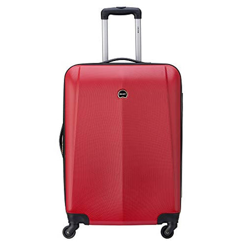 "Delsey Luggage Infinitude 25"" Checked Hard Case Spinner (Red)"