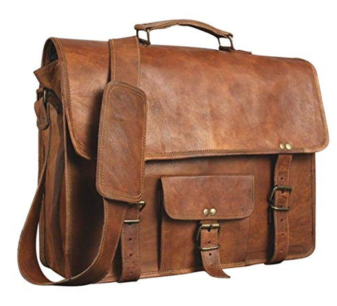 Vintage Handmade Leather Messenger Bag for Laptop Briefcase Satchel Bag (11 X 15)