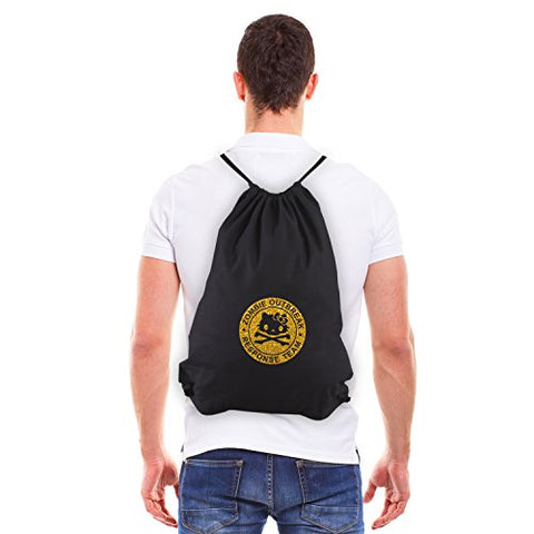 Army Force Gear Zombie Outbreak Response Team Hello Kitty Reusable Drawstring Bag Black & Gold