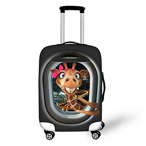 Hugs Idea 26/28/30 Inch Cute Giraffe Spandex Elastic Luggage Cover Protector With Zipper
