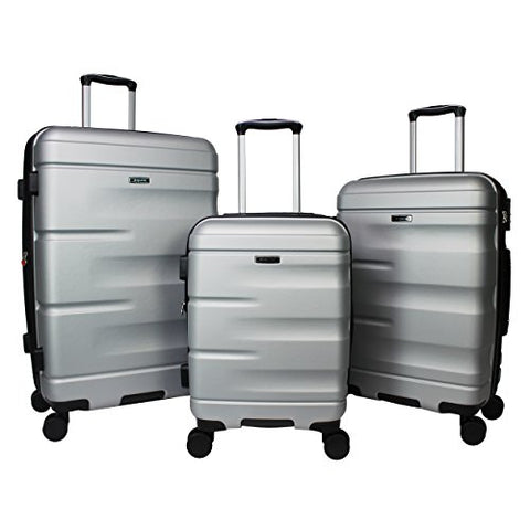 Dejuno Emerson 3-Piece Hardside Expandable Spinner Luggage Set, Silver